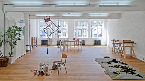 An interior photo of the studio of Mona Hatoum
