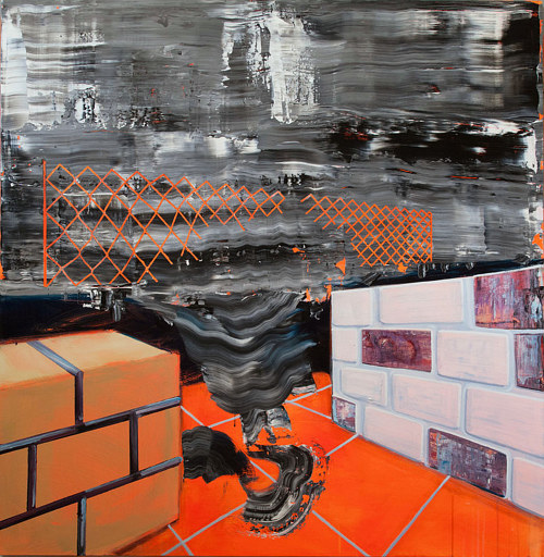 An abstract painting with images of brick structures and chain link