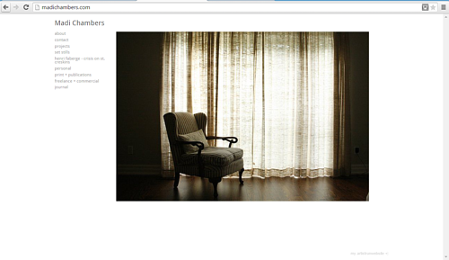 A screen capture of the front page of Madi Chambers' website