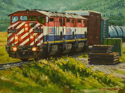 A painting of a modern train in a rural area