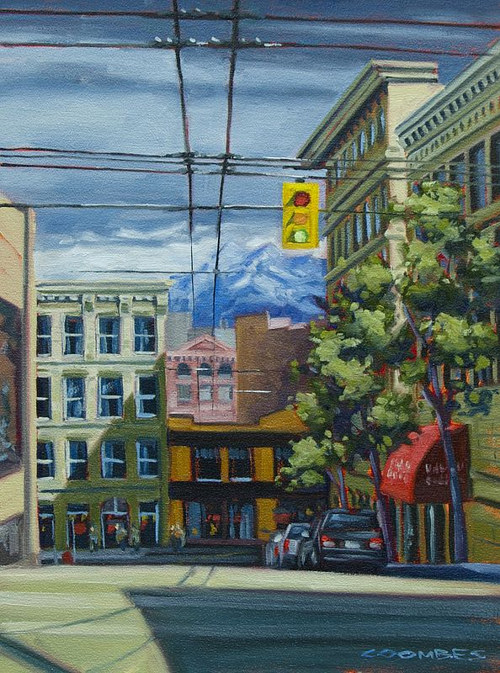 An oil painting of a city street