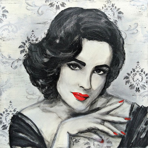 A black, white and red acrylic portrait of Elizabeth  Taylor