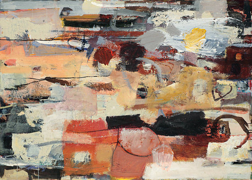 An abstract painting with beige, peach and brown tones in large blocks