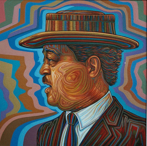 A colourful, stylized side-profile portrait of Lester Young