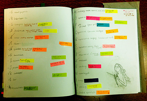 post-it notes on in a book