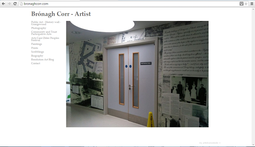 A front page screen capture of Bronagh Corr's website