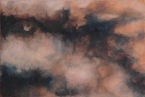 An oil painting of a clouded moonlit sky