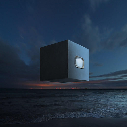 A digital image of a black cube floating over dark water