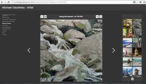 A screen capture of the Rocks and Rivers gallery on Michael Gaudreau's website
