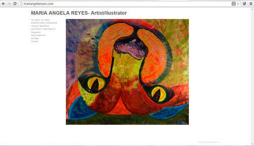 A screen capture of the front page of Maria Angela Reyes' art website