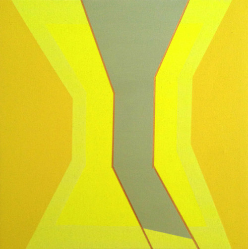 A bright yellow abstract painting on raw canvas