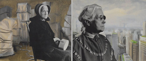 Two collaged and painted images of old women in various environments