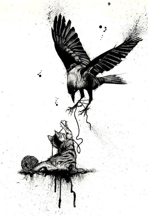 A drawing of a cat and a crow fighting over yarn
