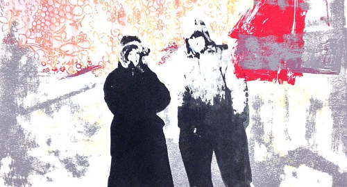 A print work with two human figures obscured by pattern