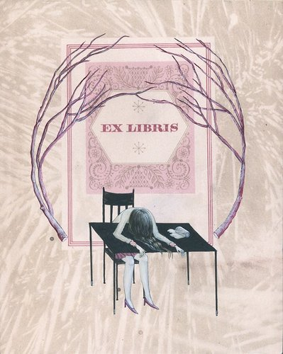 Ex libris. A woman collapsed on a desk