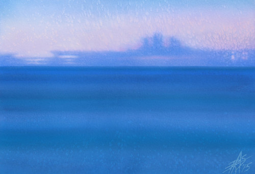 A bright blue, blurred seascape painting