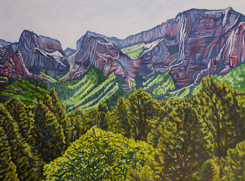 A painting of springtime foliage in a Nevada canyon