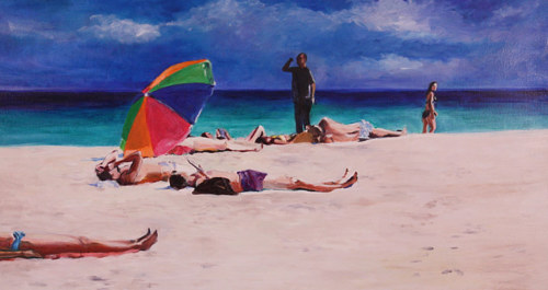 An oil painting of several figures lounging on the beach