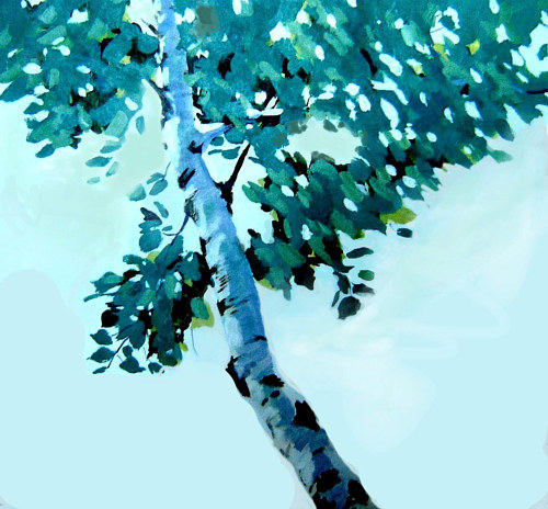 A simple painting of a birch tree on a blue background