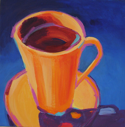 A simple painting of an orange coffee cup