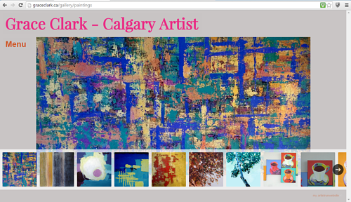 A screen capture of Grace Clark's painting website