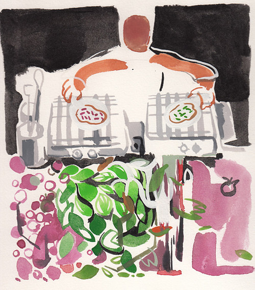 A gouache painting of a man cooking omelettes