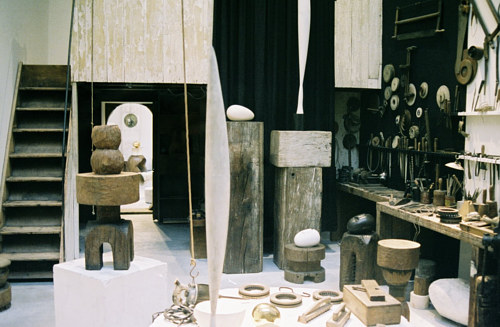 A photo of Constantin Brancusi's art studio
