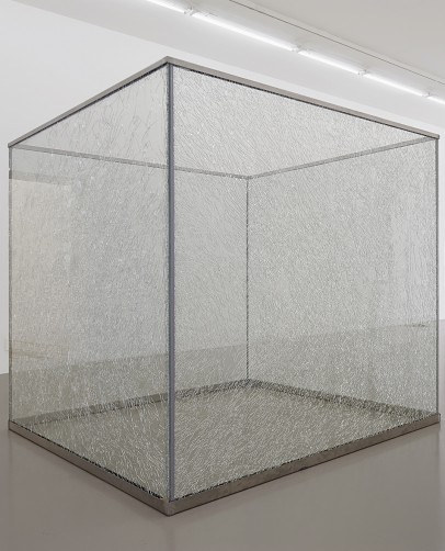 A large glass and steel tank in the middle of a gallery