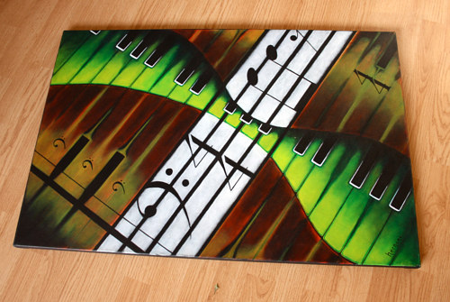 An abstract painting expressing the F note on a piano keyboard