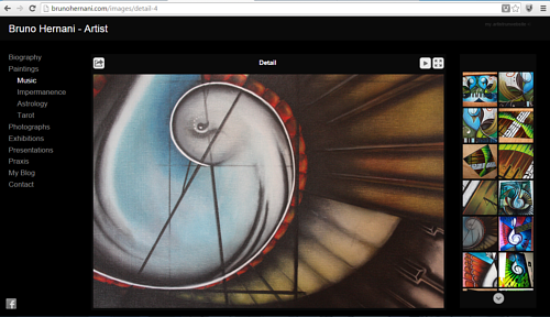 A screen capture of Bruno Hernani's online gallery of music paintings
