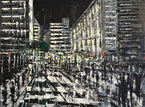 A nearly black and white painting of an abstracted city street
