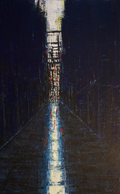 A dark painting of a an alley in a city