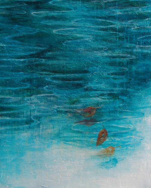 A highly saturated blue painting of leaves floating in water