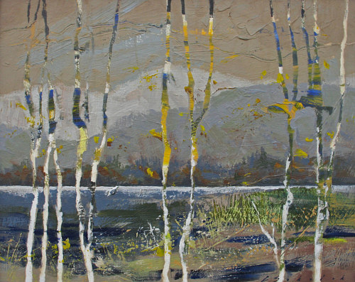 An abstract painting with several long forms that might be birch trees