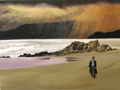 A painting of artist William Turner walking down a beach
