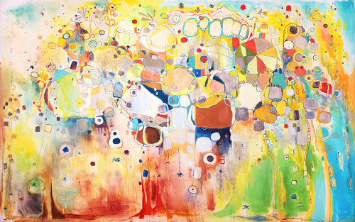 An abstract painting with bright colours and rounded shapes