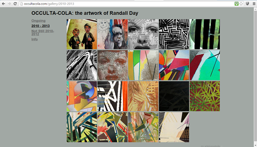 A gallery of current artwork on Randall Day's website