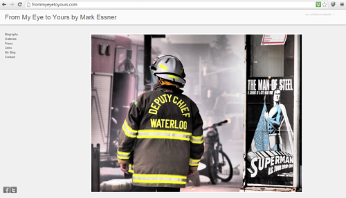 A screen capture of the front page of Mark Essner's website
