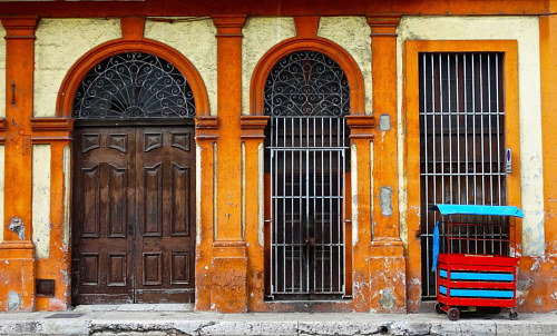 A photograph of a doorway in Havana, Cuba