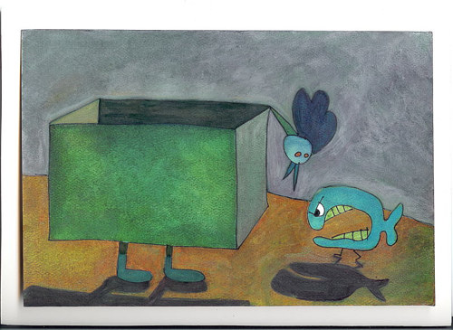 A painting of a box chicken arguing with a fish