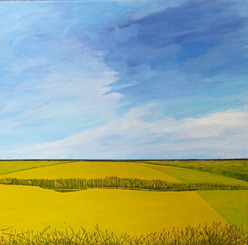 A painting of a canola field under an expansive blue sky
