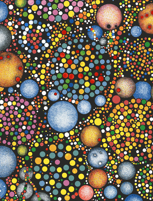 An abstract pen and ink drawing of many coloured circled of different sizes