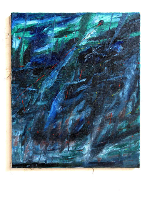 An abstract painting with tones of cold blue and black