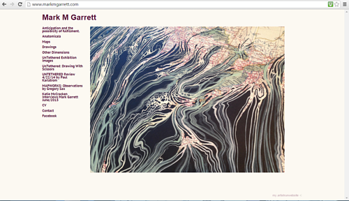 A screen capture of Mark M Garrett's art website