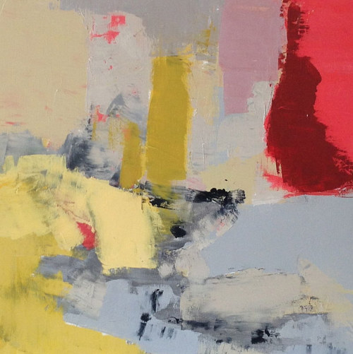 An abstract painting with red, yellow and grey tones