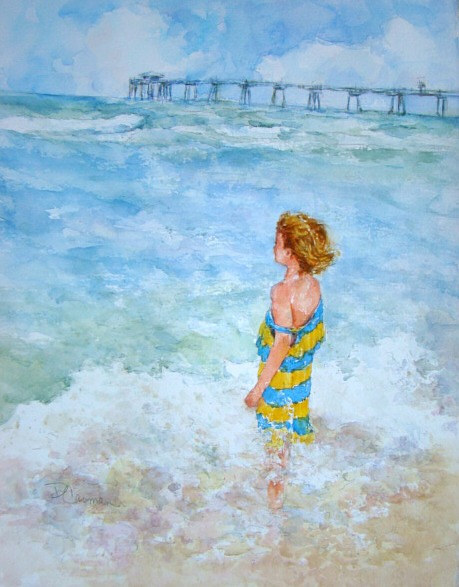 A watercolour painting of a young woman wading in the ocean
