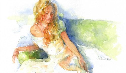 A loose watercolour painting of a woman reclining in a white dress
