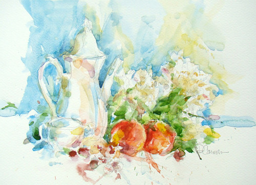 A watercolour painting of a tea pot  and some fruits