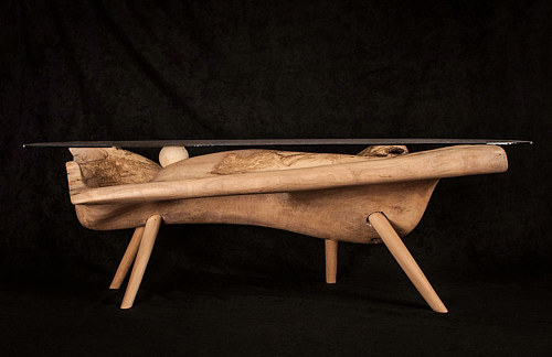 A coffee table made from 300-year old olive wood