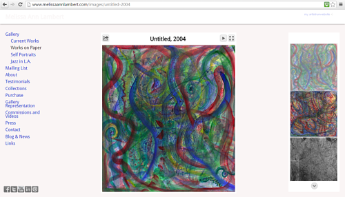 A screen capture of Melissa Ann Lambert's gallery of works on paper